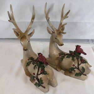 Set of 2 Deer Figurines W/ Embossed Cardinals